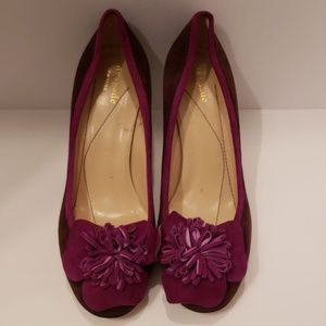 Kate Spade brown and purple suede heels